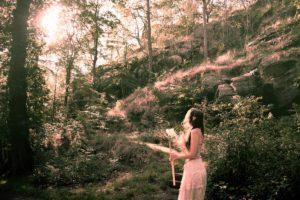 Josefin Berger as an elf queen in the forest