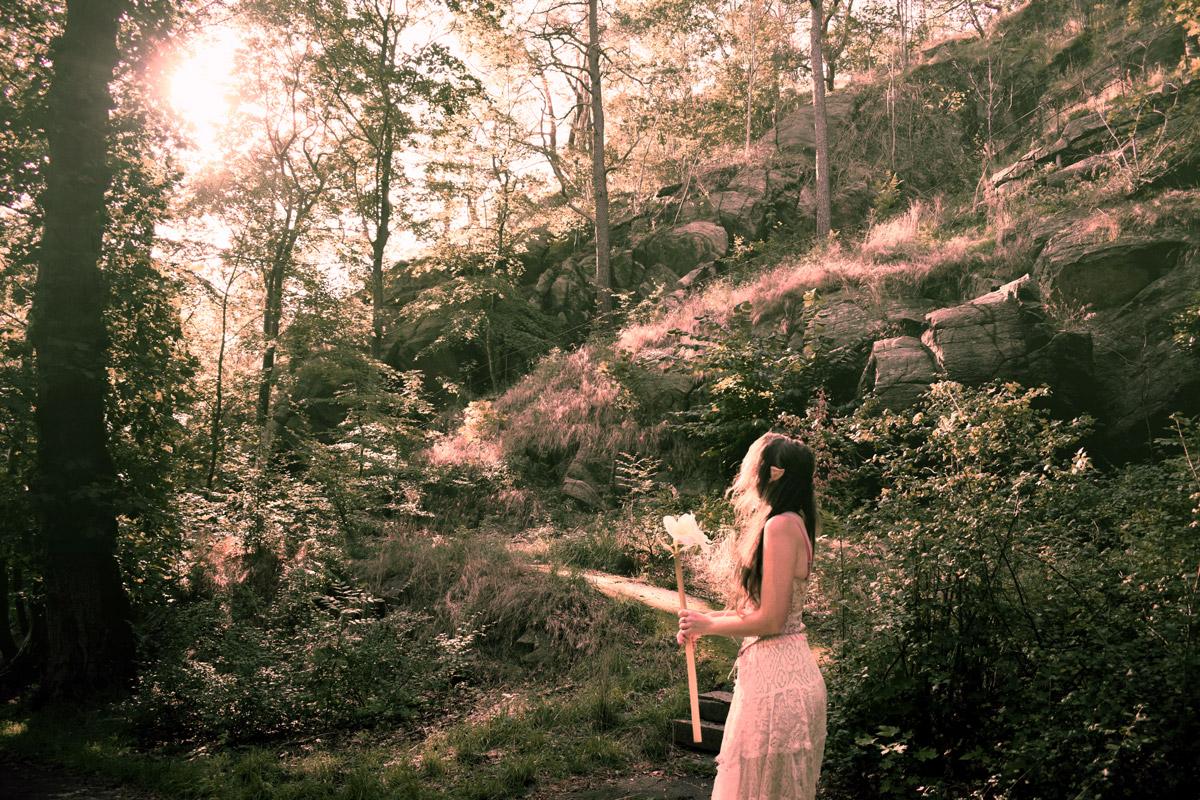 Josefin Berger as an elf in the forest
