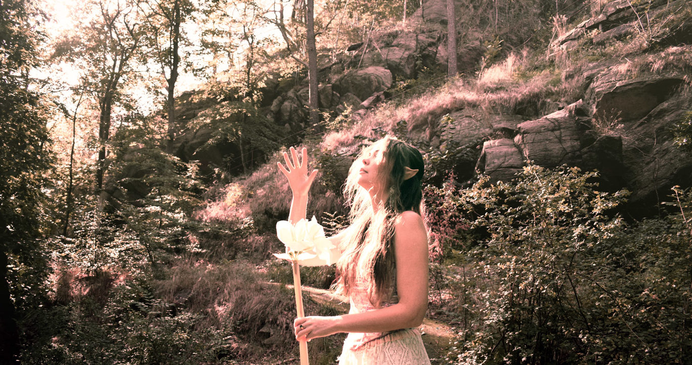 Portrait of Josefin Berger as an elf in the forest