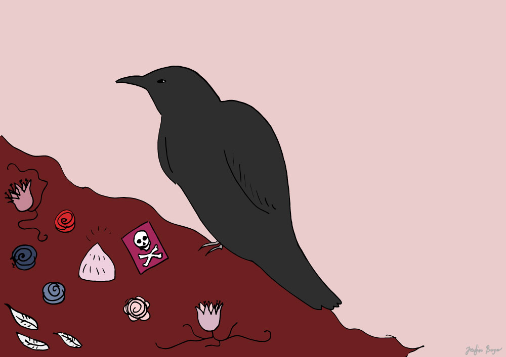 Illustration with a raven and a tarot card of a death skull.